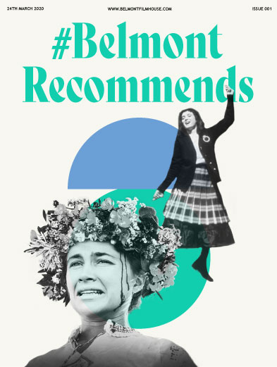 Cover of Issue001 of Belmont Recommends featuring stills from Midsommar and Beetlejuice