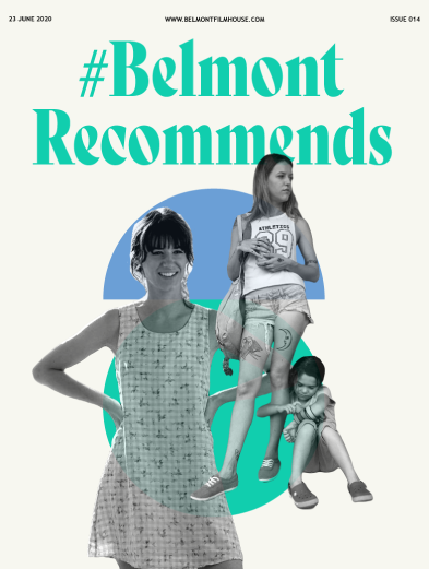 Cover of Belmont Recommends Issue 14 featuring Normal People and The Florida Project with abstract blue & green shapes