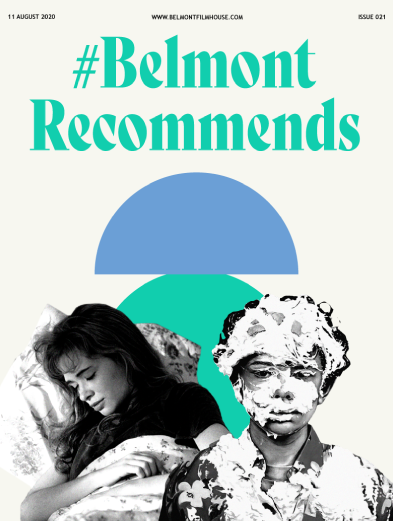 Cover of Belmont Recommends, Still images from Honey Boy in Blue & green geometric design