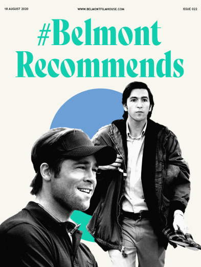 Front cover of Belmont Recommends newsletter featuring Succession and Moneyball stills, including green and blue shapes