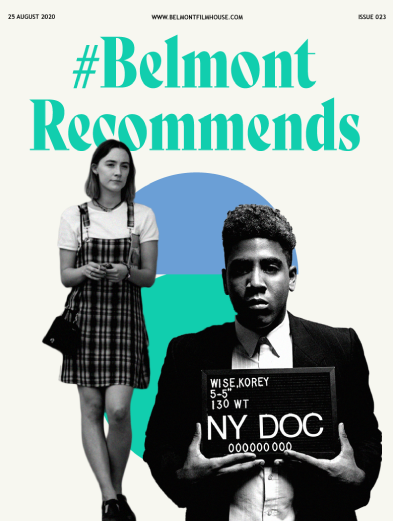 Cover of Belmont Recommends newsletter featuring still from Lady bird