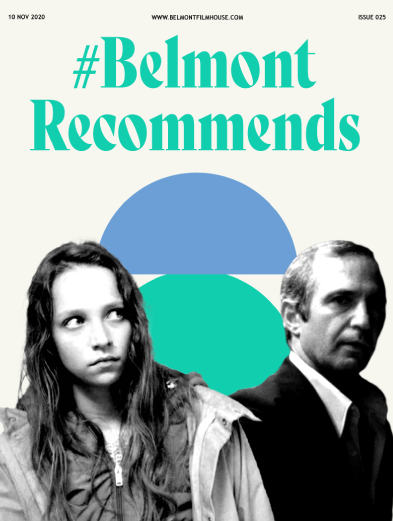 Cover of Belmont Recommends newsletter featuring still from make up and killing of a chinese bookie. Cut out B&W with abstract shapes behind