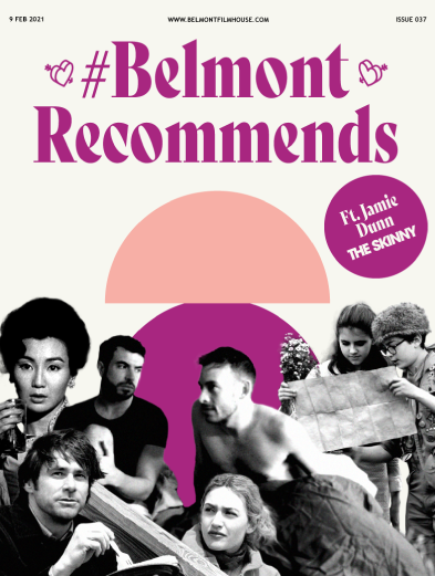 valentines cover of belmont recommends issue 37. Purple and soft pink tones. Black and white cut out stills from Eternal Sunshine of the spotless mind, Moonrise kingdom, Weekend and In The Mood For Love