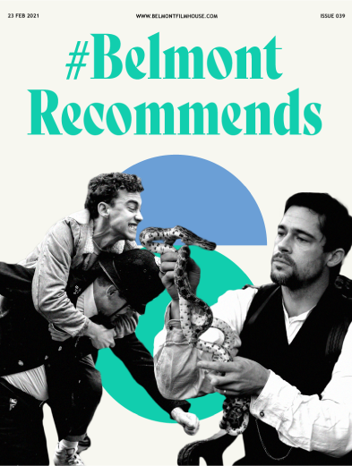 Cover of Belmont recommends issue 39 featuring stills from It's A Sin & The Assasination of Jesse James