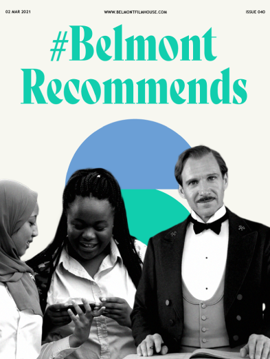 Cover of Belmont recommends issue 40 featuring stills from Grand Budapest Hotel & Rocks