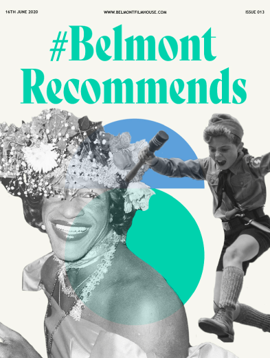 Belmont Recommends newsletter cover featuring stills from pride films and jojo rabbit