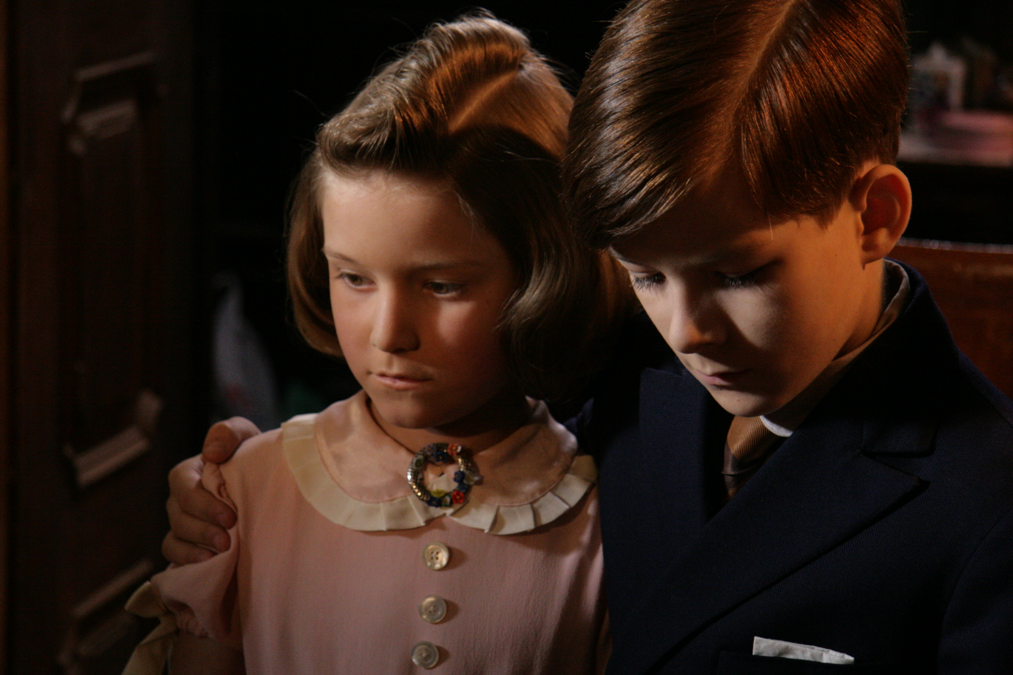 Film still of Hana Brady and her brother