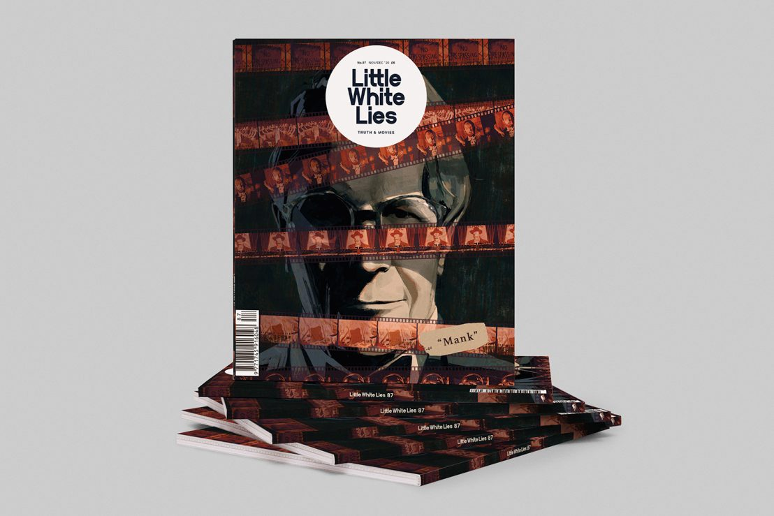 Little White Lies stack of magazine, with the film Mank on the cover in an illustrated design